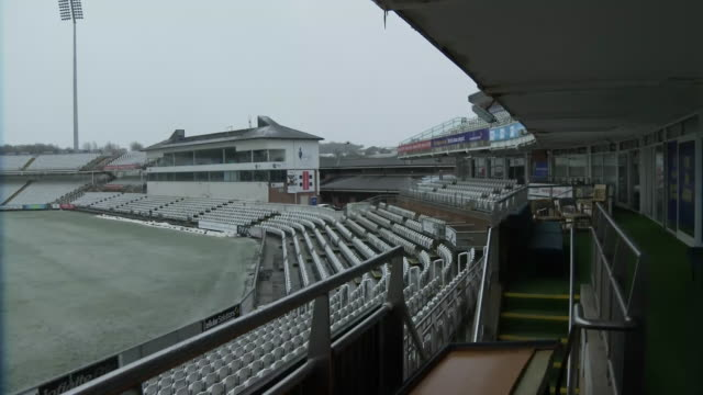 stockvideo's en b-roll-footage met internal shots of frozen pitch at the emirates riverside ground on the 24th february 2020 in chesterlestreet england - durham engeland