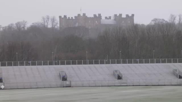 stockvideo's en b-roll-footage met internal shots of frozen pitch winter conditions at the emirates riverside ground on the 24th february 2020 in chesterlestreet england - durham engeland