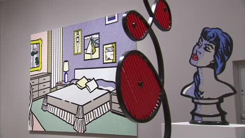 "vídeos y material grabado en eventos de stock de internal shots various pieces of art by roy lichtenstein including ""whaam!"" 1963, ""head with blue shadow"" 1965, ""interior with waterlilies"", ""why,... - raw footage"