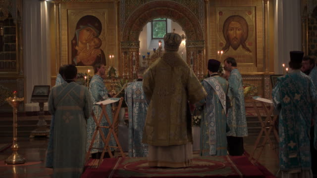 internal static shot russian orthodox ceremony - religion stock videos & royalty-free footage