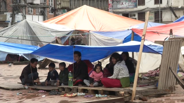 Internally displaced persons live near the rubble of destroyed Durbar Square in Kathmandu / A major earthquake hit Kathmandu midday on Saturday April...