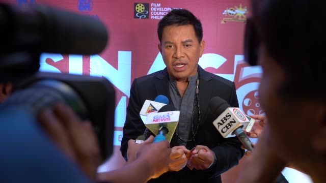 international awardwinning film director brillante mendoza at the opening night of 5th sinag maynila independent film festival on april 3 2019 at... - isola di luzon video stock e b–roll