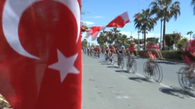 international bike tour which lasted 4 days, ended in mersin and ukrainian bicyclist oleksandr polivoda became first on the last day of tour on 12... - ukraine stock-videos und b-roll-filmmaterial