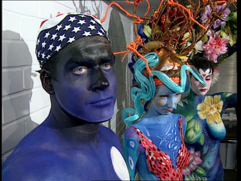 international body painting competition preparations; england: london: int cms liz mclafferty intvwd sot -body painting took off after demi moore... - vanity fair stock videos & royalty-free footage
