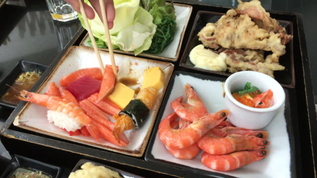 international buffet in thailand , cooking and eating show in bangkok - seafood stock videos & royalty-free footage