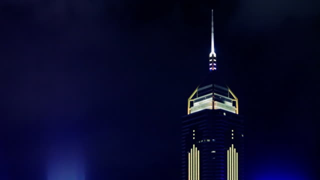 ms international finance centre illuminated at night / hong kong, china - central plaza hong kong stock videos & royalty-free footage