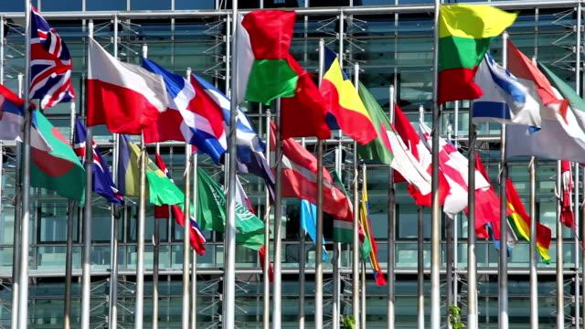 bandiere internazionali davanti a un edificio - onu video stock e b–roll