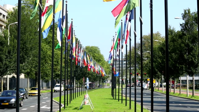 vídeos de stock, filmes e b-roll de international flags em haia, holanda - the hague