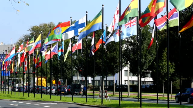 international flags in the hague - germany stock videos & royalty-free footage