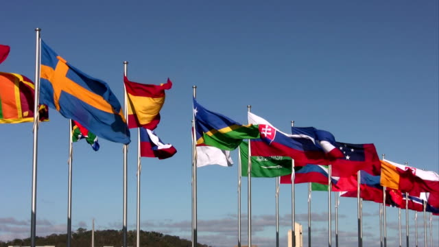 International flags, National flags, blowing in the wind,