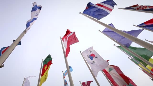International flags on a cloudy sky