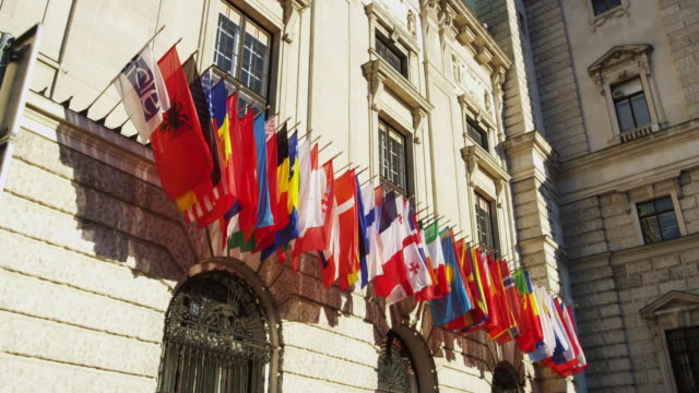International Flags on the Facade of the Hofburg Palace