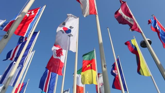 international flags - viele gegenstände stock-videos und b-roll-filmmaterial