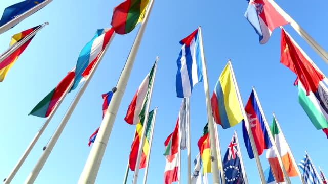 international flags - global village stock videos & royalty-free footage