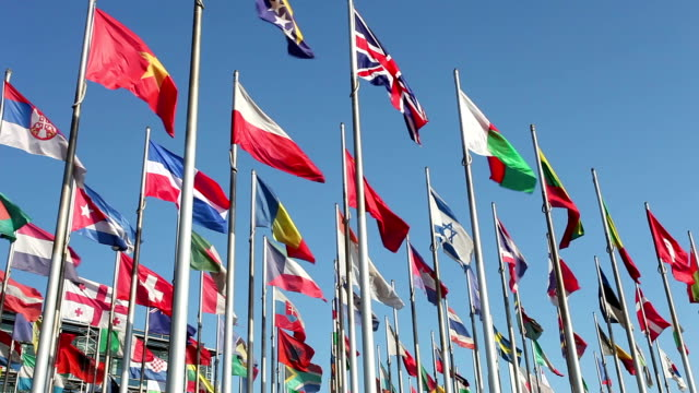 international flags - internationale geschäftswelt stock-videos und b-roll-filmmaterial