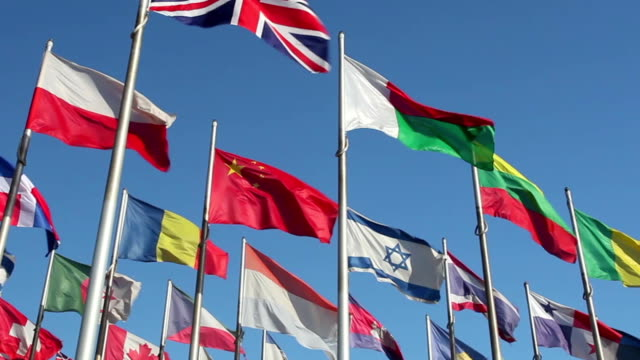 international flags - vereinte nationen stock-videos und b-roll-filmmaterial