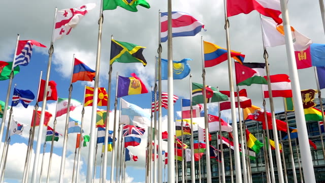 international flags - global communications stock videos & royalty-free footage