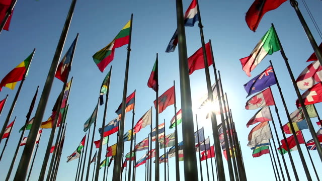 stockvideo's en b-roll-footage met international flags with sunlight - nationale vlag