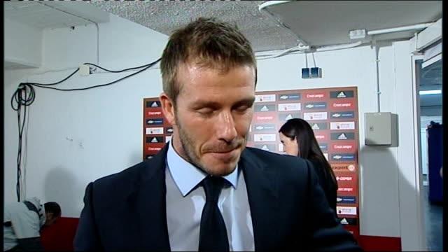 Spain v England postmatch interviews SPAIN Seville Ramon Sanchez Pizjuan Stadium INT David Beckham interview SOT Dream to have played as many games...