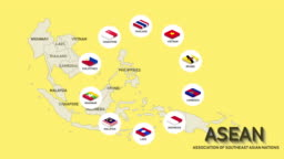 ASEAN international group of organization with member flags animation.