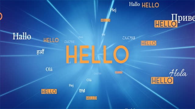 international hello words flying towards camera (blue) - loop - international match stock videos & royalty-free footage