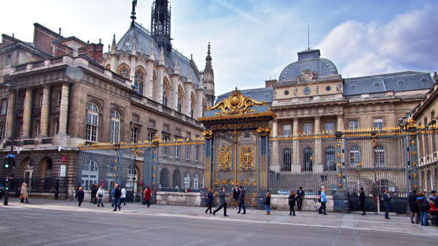 international landmark palace of justice in paris. large entrance. tourists - government building stock videos & royalty-free footage