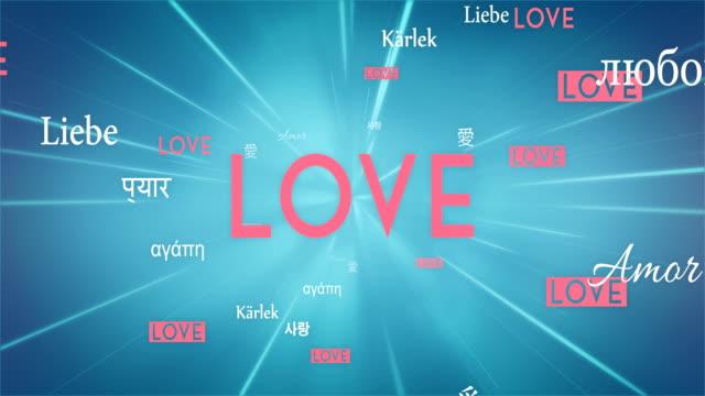 International LOVE Words Flying Towards Camera (Blue) - Loop