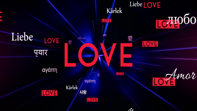 International LOVE Words Flying Towards Camera (Black) - Loop