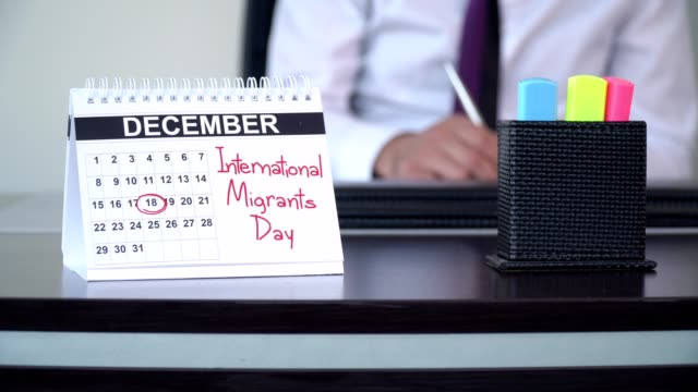 international migrants day - special days - lavoratore emigrante video stock e b–roll