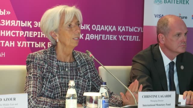 international monetary fund managing director christine lagarde attends a press conference during the 12th astana economic forum in nursultan... - nur sultan stock videos and b-roll footage