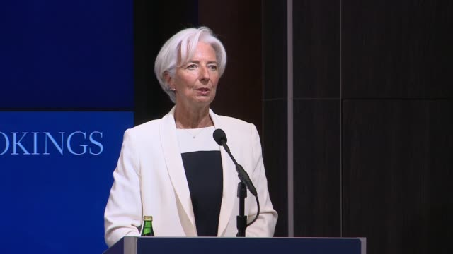 international monetary fund managing director christine lagarde comments on the continuing crisis over greece's debt at the start of a speech at the... - debt stock videos & royalty-free footage