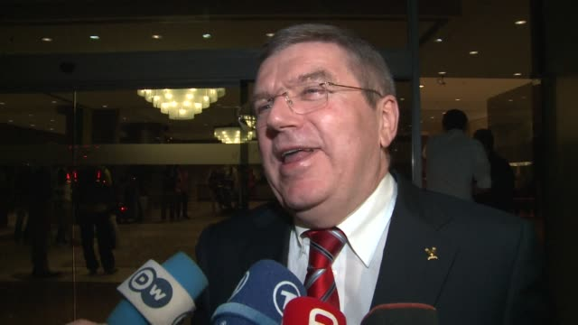 international olympic committee president thomas bach looks forward to brazil hosting the 2016 olympics with as much passion and enthusiasm as for... - sportweltmeisterschaft stock-videos und b-roll-filmmaterial