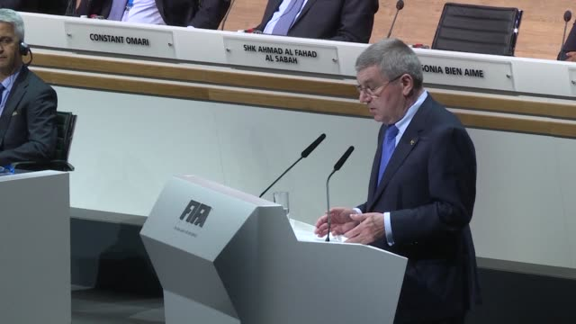 international olympic committee president thomas bach told the fifa congress on friday that football and all sports federations had to improve... - fifa stock videos & royalty-free footage