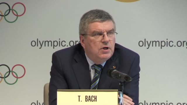 vídeos de stock, filmes e b-roll de international olympics committee chief thomas bach said that russian athletes who pass an individual test by the iaaf would compete under their... - rio russian