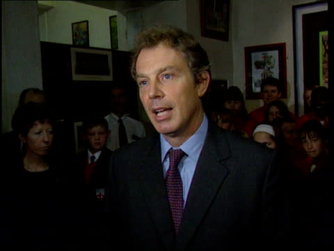 international reaction international reaction itn lancashire blackpool st george's school prime minister tony blair mp along and speaking to press... - winter gardens blackpool stock videos & royalty-free footage