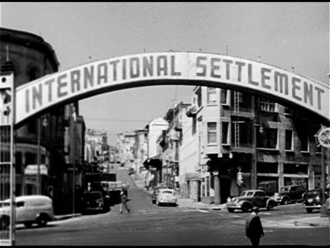 International Settlement arched sign arched over Pacific Street between Montgomery Columbus Prostitution drinking