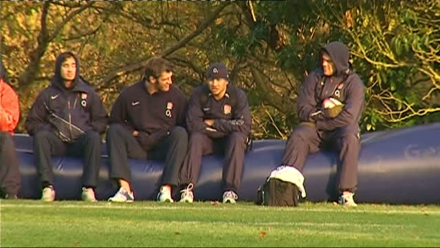 international tests: england squad training; england coaches watch england train england players including danny cipriani sitting on inflatable bench... - bodyweight training stock videos & royalty-free footage