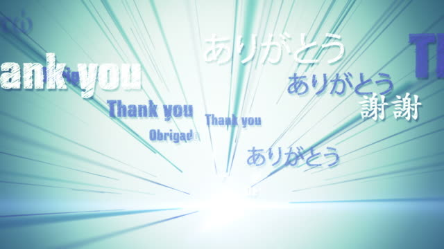 international thank you (blue/green) - loop - short phrase stock videos and b-roll footage