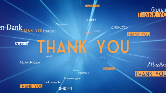 international thank you words flying towards camera (blue) - loop - short phrase stock videos and b-roll footage
