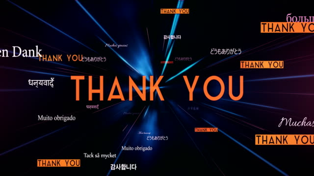 international thank you words flying towards camera (black) - loop - thank you stock videos and b-roll footage