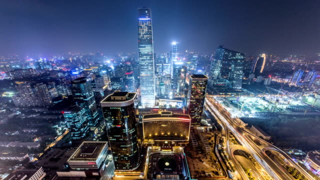 international trade center cbd in beijing - beijing stock videos & royalty-free footage