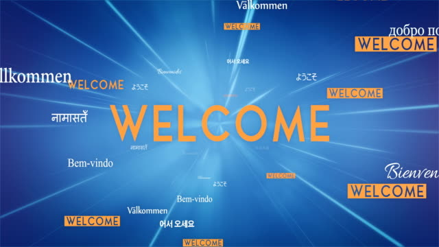International WELCOME Words Flying Towards Camera (Blue) - Loop