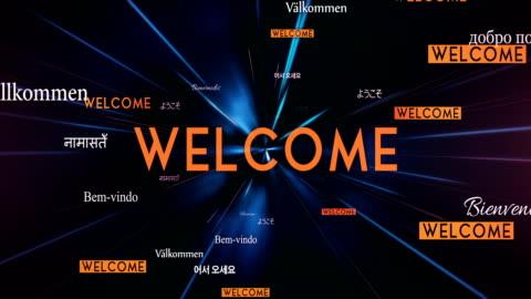 international welcome words flying towards camera (black) - loop - welcome sign stock videos & royalty-free footage