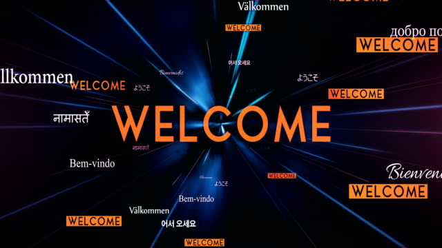 international welcome words flying towards camera (black) - loop - greeting stock videos & royalty-free footage
