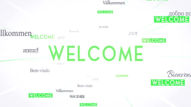 International WELCOME Words Flying Towards Camera (White) - Loop