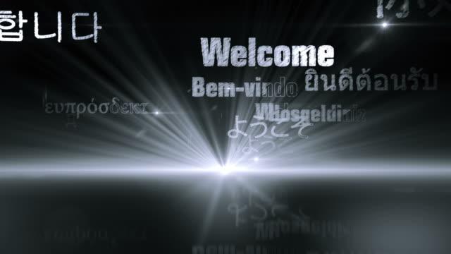 international welcome words (silver/gray version) - loop - non western script stock videos & royalty-free footage