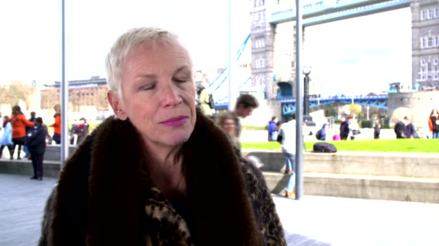 International Women's Day Annie Lennox joins Sadiq Khan and others at rally ENGLAND London City Hall EXT Annie Lennox interview SOT re feminism...