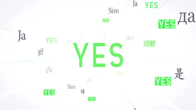 International YES Words Flying Towards Camera (White) - Loop