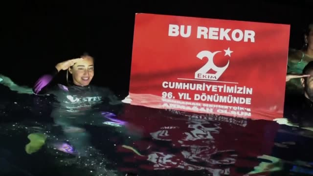 internationally renowned turkish diver sahika ercumen breaks women's freediving world record of 90 meters at the gilindire cave in aydincik town of... - underwater diving stock videos & royalty-free footage