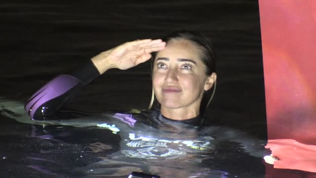 internationally renowned turkish diver sahika ercumen celebrates with a militarystyle salute and speaks to the media after breaking women's... - underwater diving stock videos & royalty-free footage